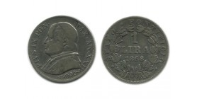 1 Lire Pie IX Buste Large Vatican Argent