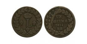 1 Decime Louis XVIII - Première et Deuxième Restauration - Point Après Décime et Date