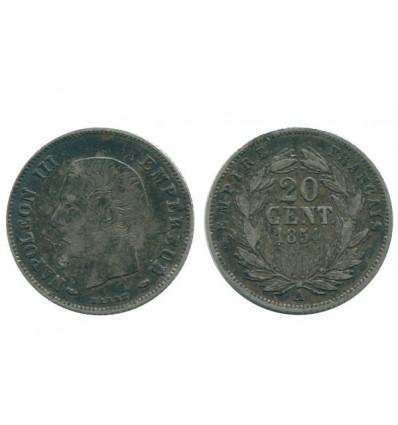 20 Centimes Napoleon III Tête Nue Second Empire