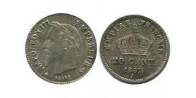20 Centimes Napoleon III Tête Laurée Grand Module Second Empire