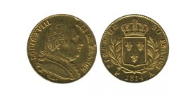 20 Francs Louis XVIII Buste Habillé Première Restauration