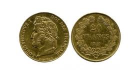 20 Francs Louis Philippe Ier Tête Laurée Tranche En Relief