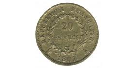 20 Francs Napoléon Ier Tête Nue type Transitoire