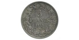 5 Francs Leopold Ier Tête Laurée Belgique Argent