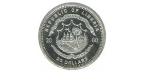 20 Dollars Libéria Argent