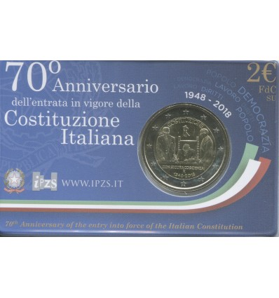 2 Euros Commémorative Italie 2018 B.U. - Constitution