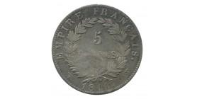 """5 Francs Napoléon Ier Tête Laurée """"Contremarque"""" """"Tête du Tigre"""""""
