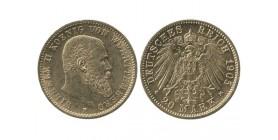 20 Marks Guillaume II Allemagne - Wurtenberg