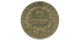 20 Francs Napoléon Ier Tête Nue Calendrier Grégorien