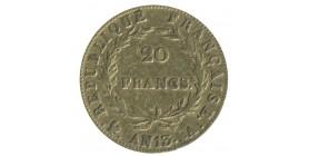 20 Francs Napoléon Ier Tête Nue Calendrier Révolutionnaire