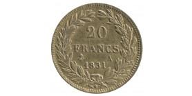 20 Francs Louis-Philippe Ier Tête Nue Tranche en Creux