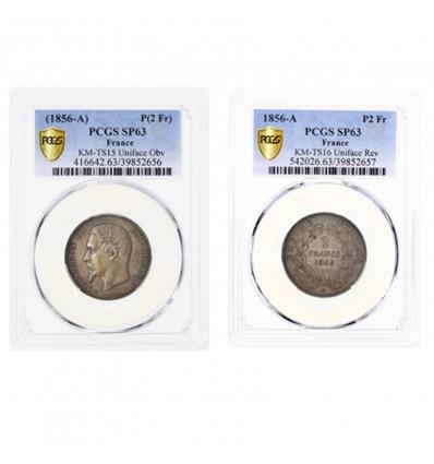 2 Francs Napoléon III Tête Nue - Paire d'Essais Unifaces