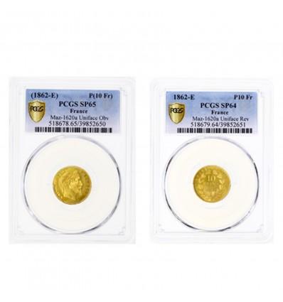 10 Francs Napoléon III Tête Laurée - Paire d'Essais Unifaces