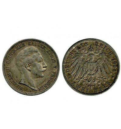 2 Marks Guillaume II Allemagne Argent - Prusse