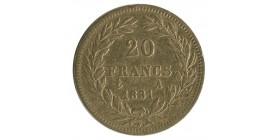 20 Francs Louis Philippe Ier Tête Nue Tranche en relief