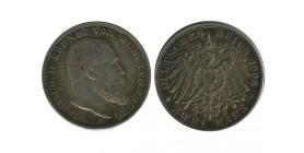 2 Marks Guillaume II Allemagne Argent - Wurtenberg