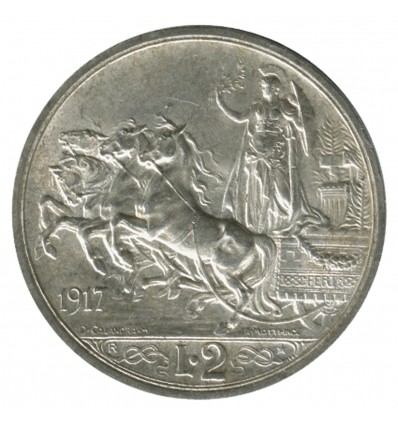 2 Lires Victor Emmanuel III - Italie Argent - Italie Réunifiée