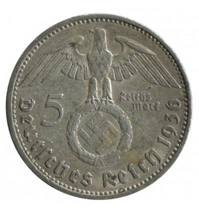 5 Marks Swastika Hindenbourg - Allemagne Argent