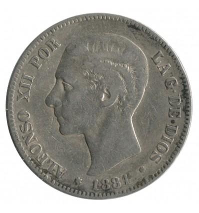 5 Pesetas Alphonse XII - Espagne Argent