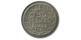 25 Cents Wilhemine Petit Buste - Pays-Bas Argent