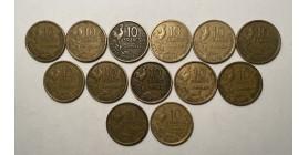 Série Complète de 13 monnaies de 10 Francs Guiraud 1950 à 1958