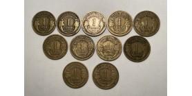 Série Complète 1 Franc Morlon Bronze Aluminium 1931 à 1941