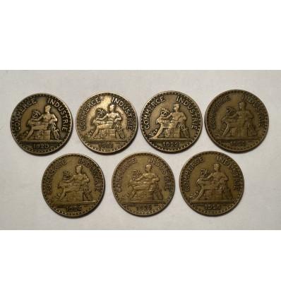 Série Complète 2 Francs Chambre de Commerce 1920 à 1926
