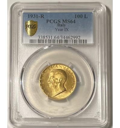 Italie 100 Lires 1931 R AN IX - PCGS MS64