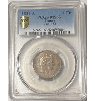 1 Franc Louis Philippe Ier Tête Nue 1831 A - PCGS MS63