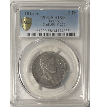 2 Francs Napoléon Empereur 1813 A - PCGS AU58