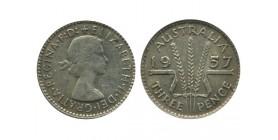 3 Pence Elisabeth II Australie Argent