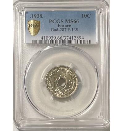 10 Centimes Lindauer .1938. - PCGS MS66