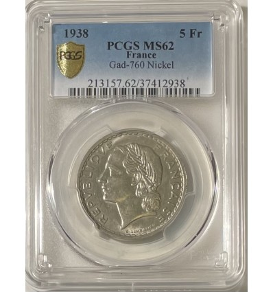 5 Francs Lavrillier Nickel 1938 - PCGS MS62