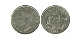 6 Pence Georges VI Australie Argent
