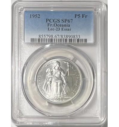 5 Francs Essai Océanie 1952 - PCGS SP67