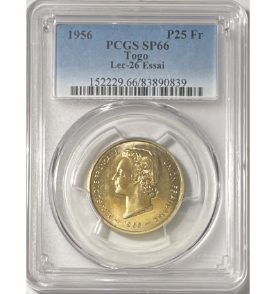 25 Francs Essai Togo 1956 - PCGS SP66