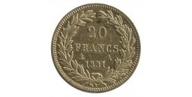 20 Francs Louis Philippe Ier Tête Nue Tranche en Creux