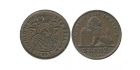 2 Centimes Leopold II Légende Française Belgique