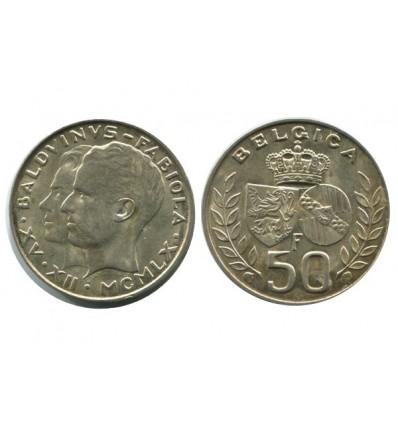 50 Francs Baudouin et Fabiola Belgique Argent