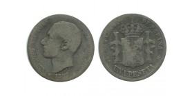 1 Peseta Alphonse XII Espagne Argent