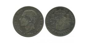 2 Pesetas Alphonse XII Espagne Argent