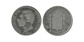 5 Pesetas Alphonse XII Espagne Argent