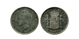 5 Pesetas Alphonse XIII 2ème type Espagne Argent