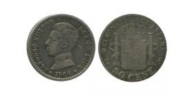 50 Centimos Alphonse XIII Espagne Argent