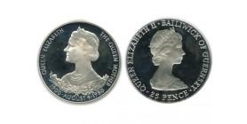 25 Pence Elisabeth II Guernesey Argent