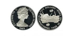 5 Dollars Elisabeth II Iles Salomon Argent