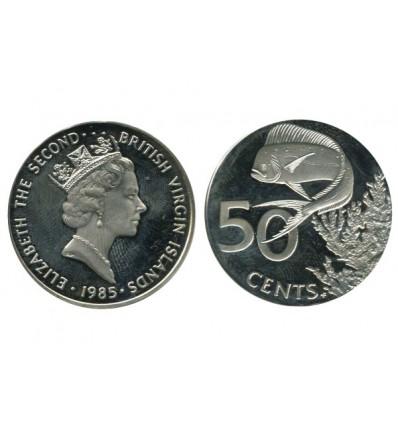 50 Cents Elisabeth II Iles Vierges Argent