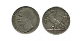 10 Lires Victor Emmanuel III 1er type Italie Argent - Italie Reunifiee