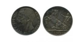 10 Lires Victor Emmanuel III 2ème type Italie Argent - Italie Reunifiee