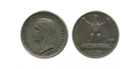 5 Lires Victor Emmanuel III 1er type Italie Argent - Italie Reunifiee